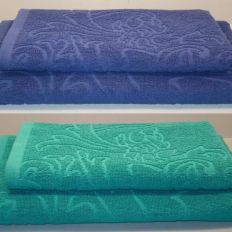 Textured dyed jacquard terry towels